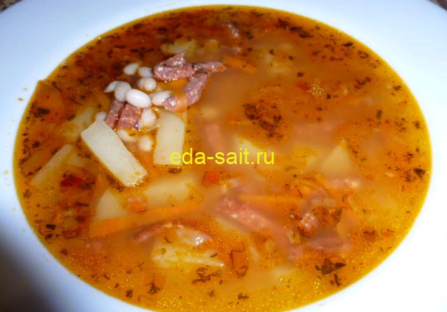 Фасолевый суп с колбасой пошаговый рецепт с фото