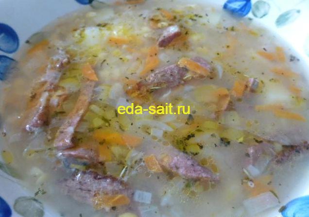Гороховый суп с копченой колбасой пошаговый рецепт