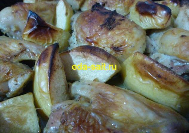 Курица с айвой в духовке пошаговый рецепт с фото