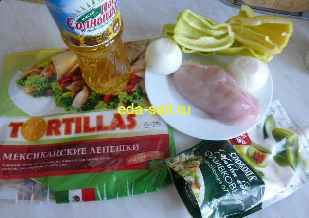 Тортилья с курицей продукты для приготовления