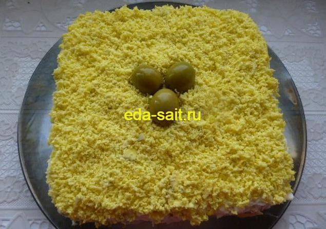 Салат Мимоза без моркови с сыром