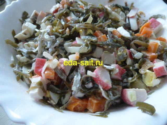 Простой салат из морской капусты пошаговый рецепт