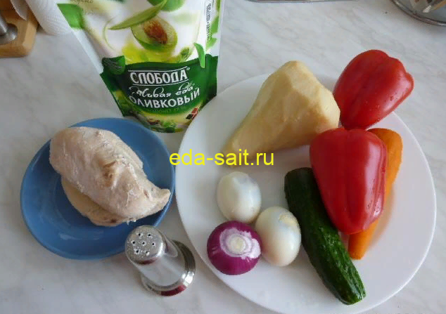 Салат с куриной грудкой и овощами набор продуктов
