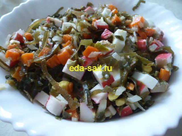 Салат из морской капусты с крабовым мясом фото