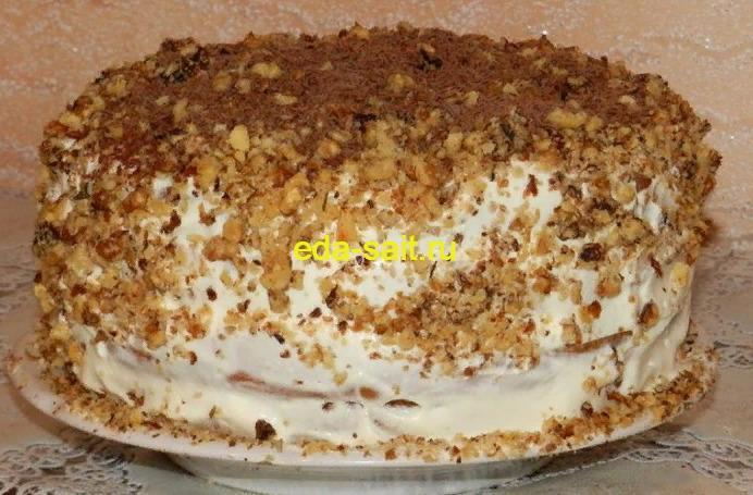 Сметанный торт с грецкими орехами пошаговый рецепт с фото