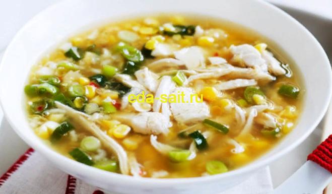 Суп с курицей и консервированной кукурузой фото