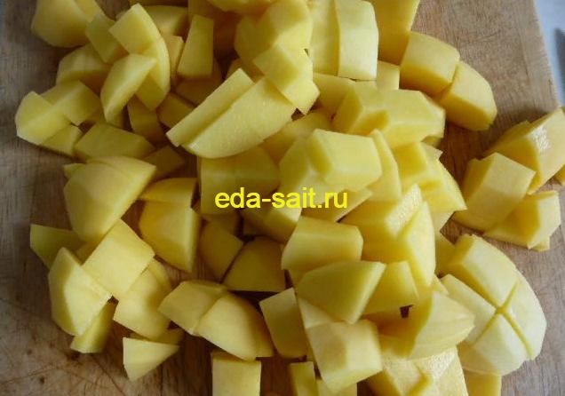Картофель нарезанный кубиками в щи