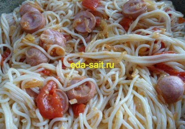 Паста с сосисками пошаговый рецепт с фото