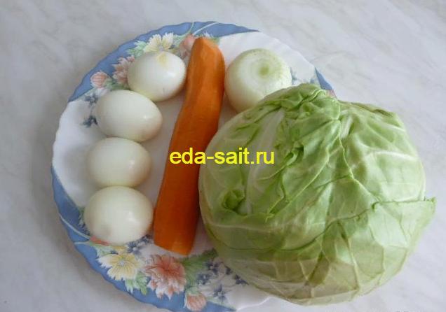 Пирожки с капустой и яйцами набор продуктов