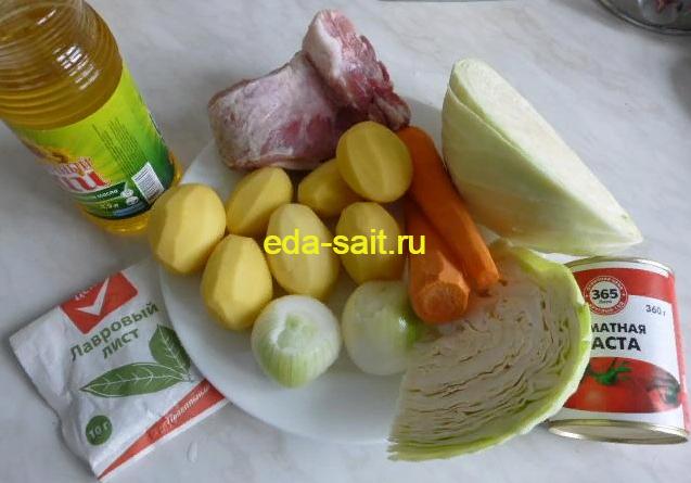 Щи из свежей капусты со свининой набор продуктов