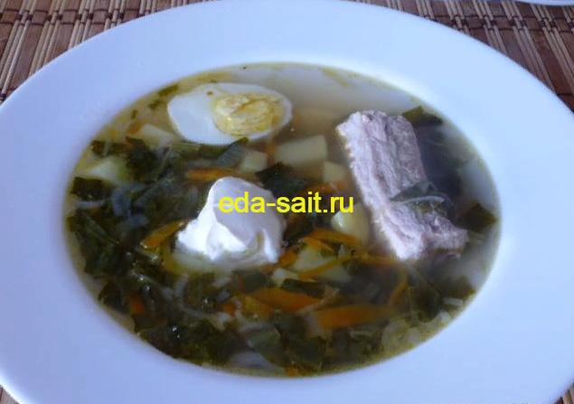 Суп с щавелем и яйцом фото
