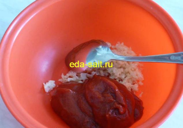 Делаем соус для баклажанов с куриной печенью