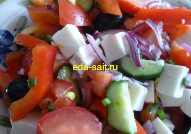 Греческий салат с сыром фета рецепт с фото