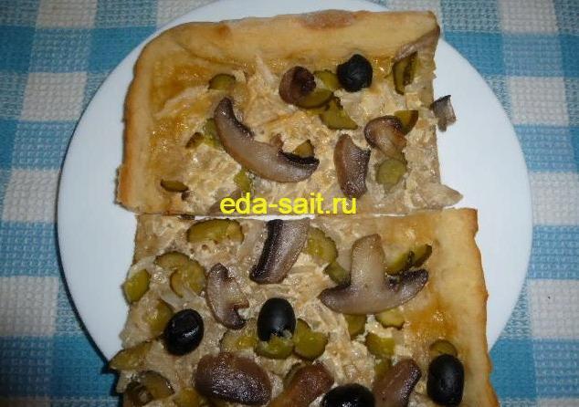 Пицца без сыра с грибами фото