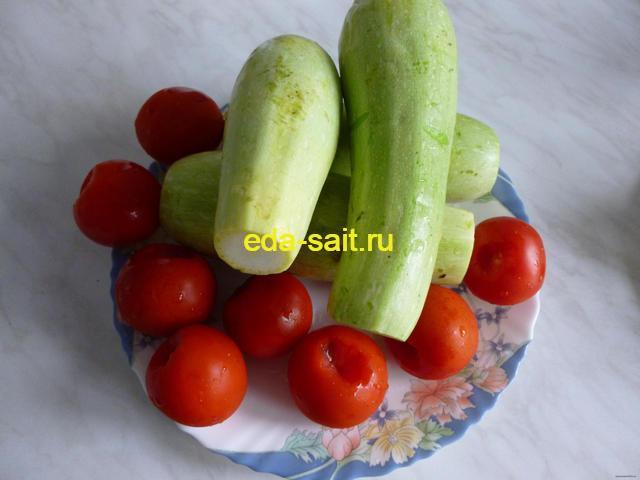 Кабачки с фаршем помидорами и сыром продукты для приготовления
