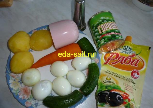Оливье с колбасой и свежими огурцами набор продуктов