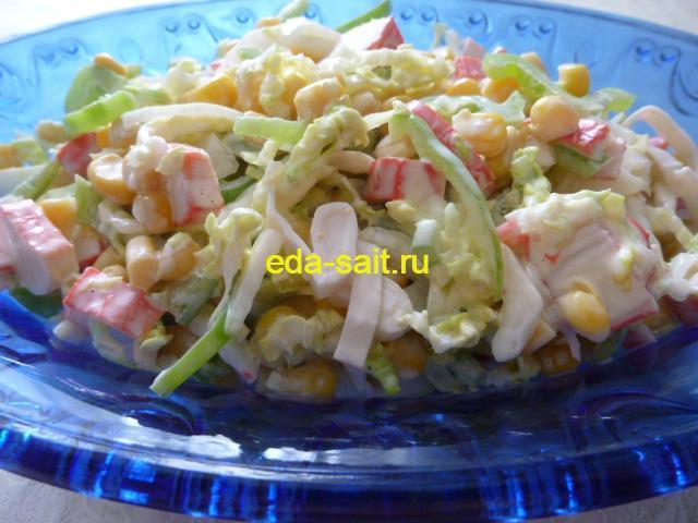Овощной салат с крабовыми палочками фото