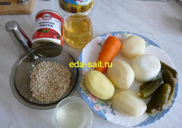 Рассольник на курином бульоне с перловкой набор продуктов