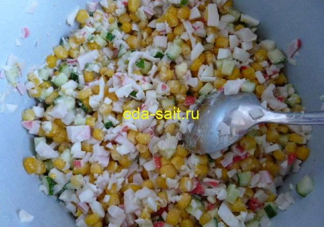 Салат с крабовыми палочками без риса рецепт с фото