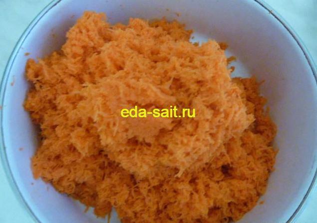 Морковь натертая на мелкой терке для торта