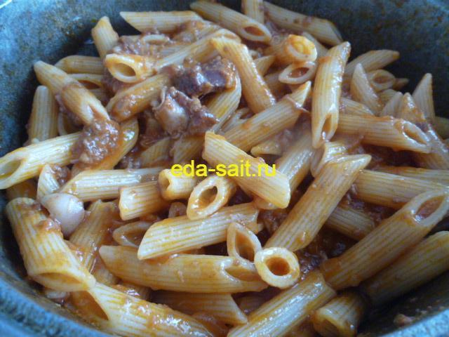 Макароны с тушенкой и томатной пастой пошаговый рецепт с фото