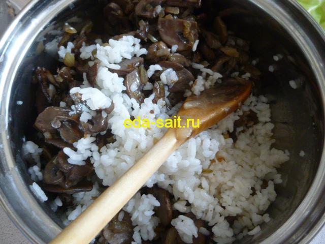 Рис и грибы для голубцов