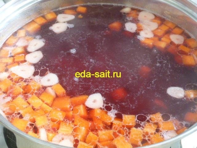 Варим борщ на воде до готовности картошки