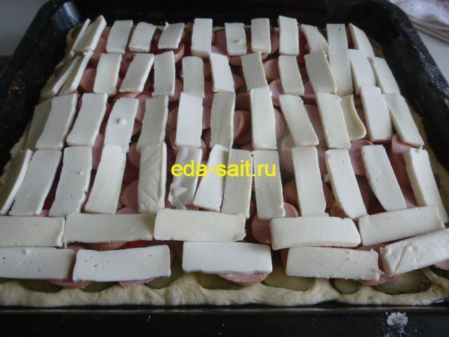 Пицца с плавленым сыром формирование
