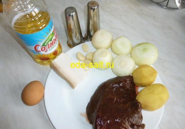 Продукты для приготовления котлет из говяжьей печени
