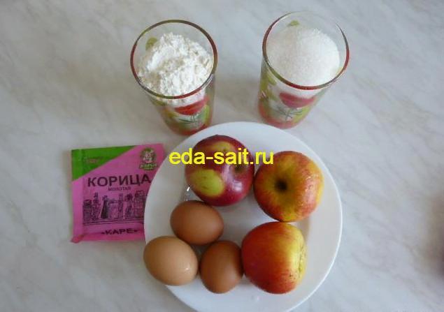 Шарлотка с яблоками продукты