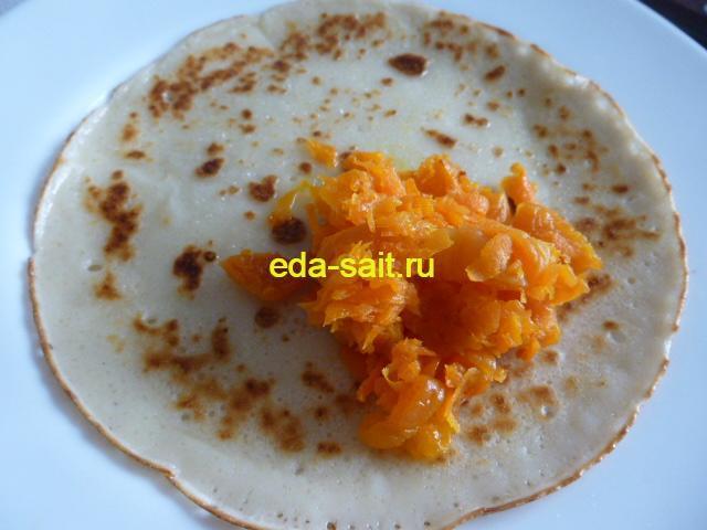 Блины фаршированные морковью пошаговый рецепт с фото