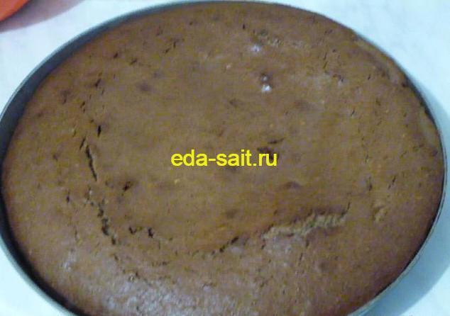 Вынимаем готовый шоколадный кекс из духовки