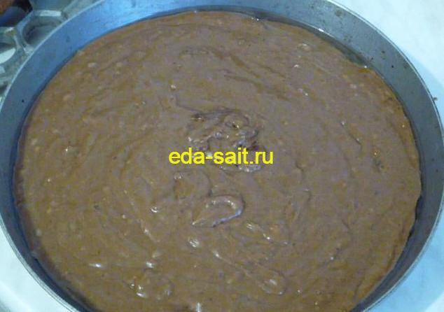 Выливаем шоколадный кекс в форму