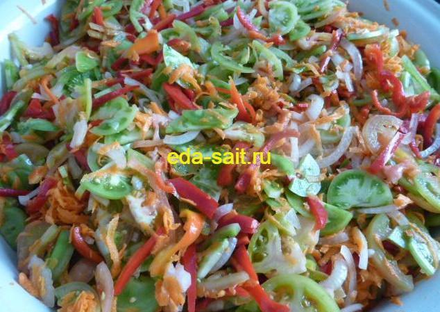 Салат из зеленых помидоров на зиму пошаговый рецепт с фото