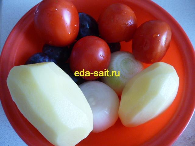 Овощи для азербайджанского супа в горшочках