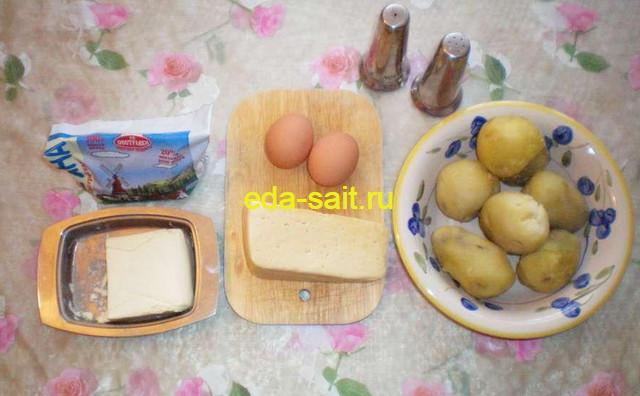 Вареный картофель с сыром набор продуктов