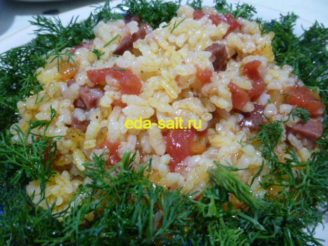 Рис с копченой колбасой фото