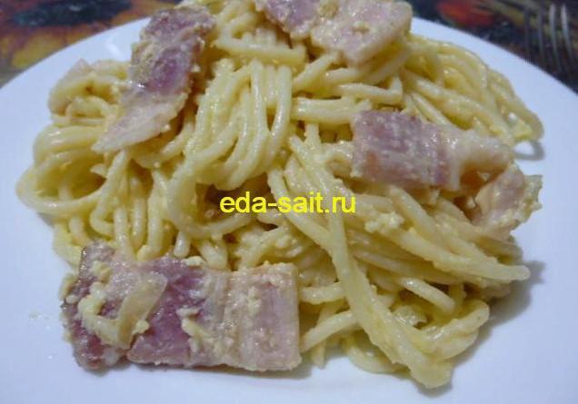 Спагетти с копченой грудинкой