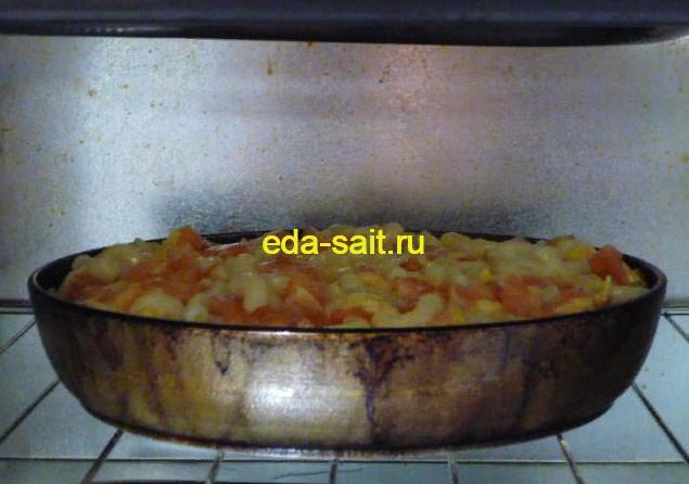 Запеканка из макарон с помидорами выпекание