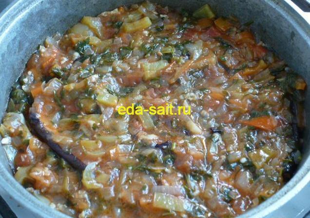 Закуска из баклажанов с овощами фото