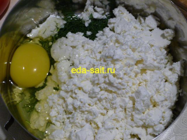 Брынза, яйцо и укром для фарширования помидоров