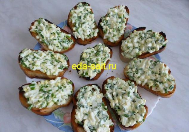 Бутерброды с яйцами и зеленым луком