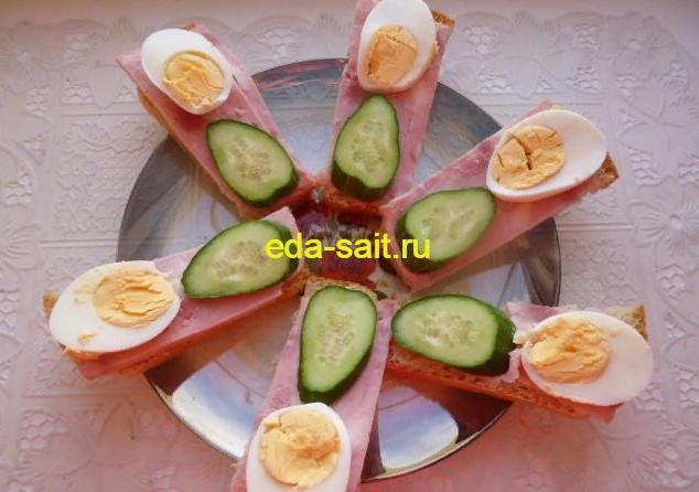 Бутерброды с ветчиной яйцами и огурцами