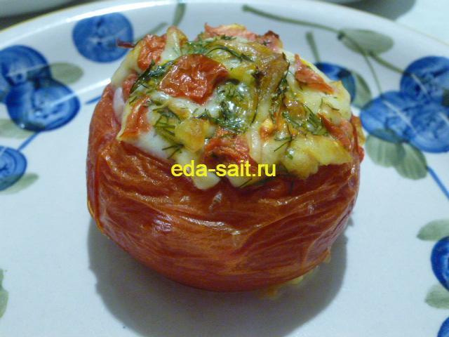 Фаршированные помидоры яйцами и сыром