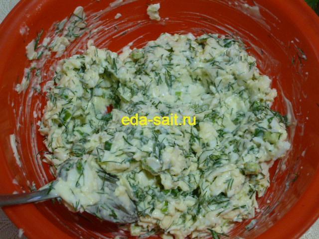 Яично-сырная начинка для фарширования перцев