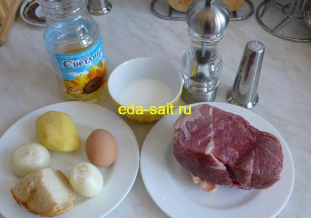 Котлеты из говяжьего фарша продукты для приготовления