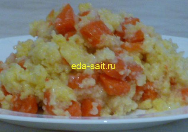 Пшенная каша на воде с морковью