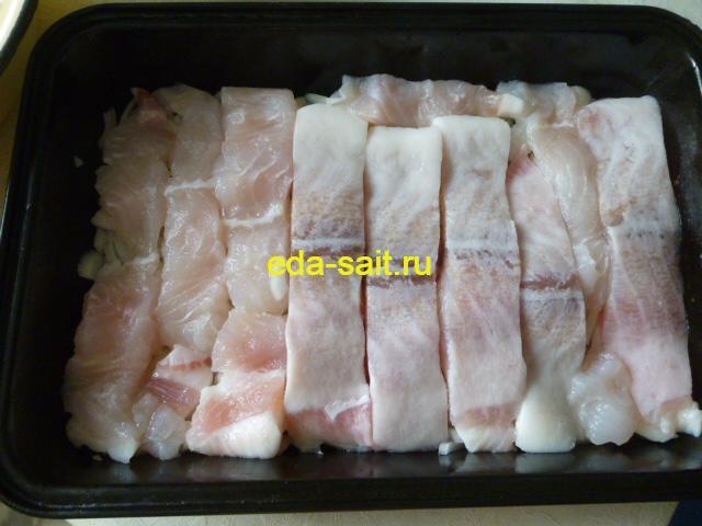 Запеканка с рыбой второй слой филе рыбы