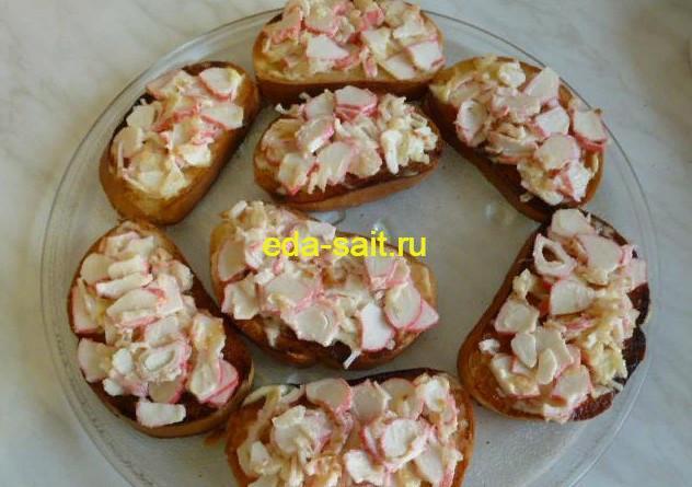 Бутерброды с крабовыми палочками рецепт с фото