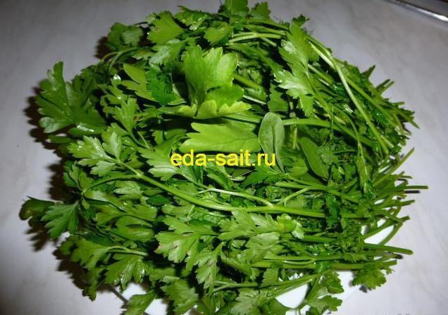 Заготовка зелени петрушки
